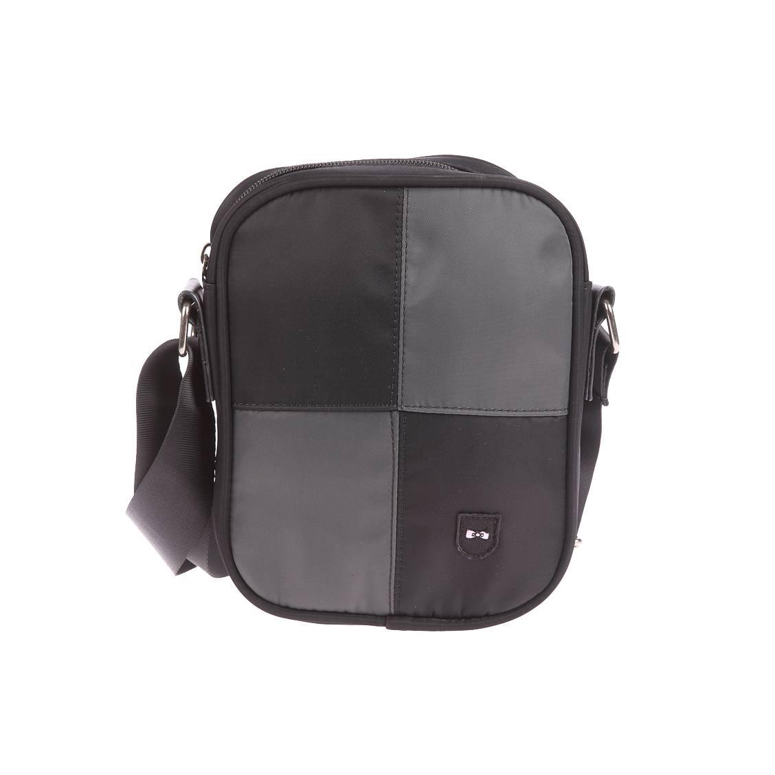 Sacoche zipp�e port� crois�  en toile � damier noir et gris