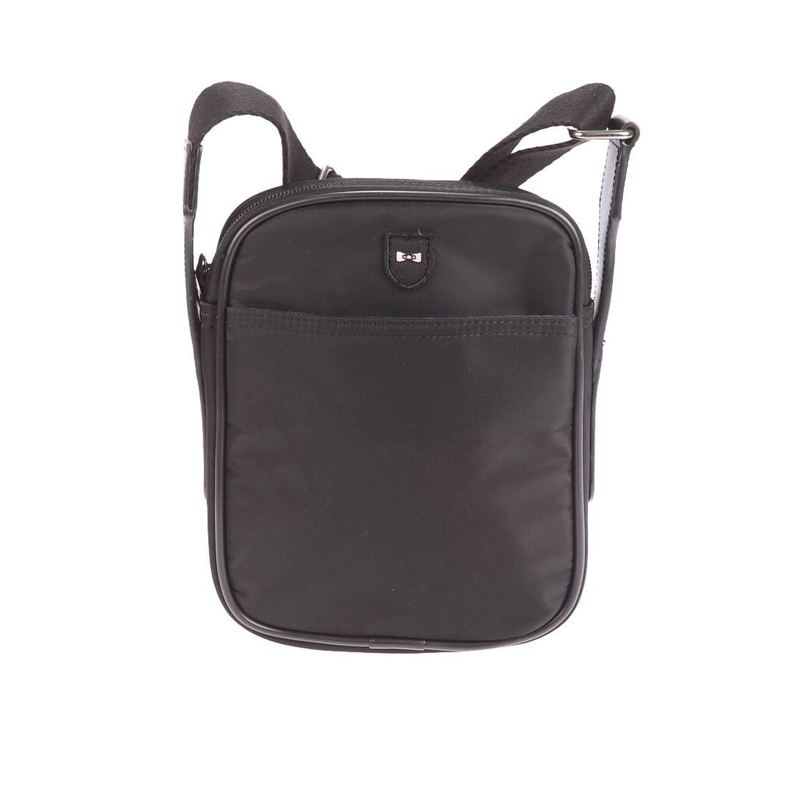 Sacoche zipp�e port� crois�  en toile noire � poche avant