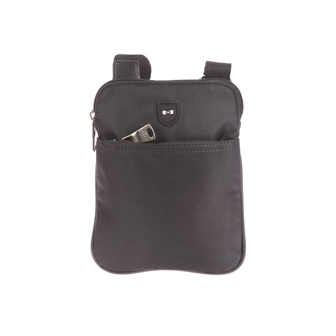 Petite sacoche plate zipp�e port� crois�  en toile noire