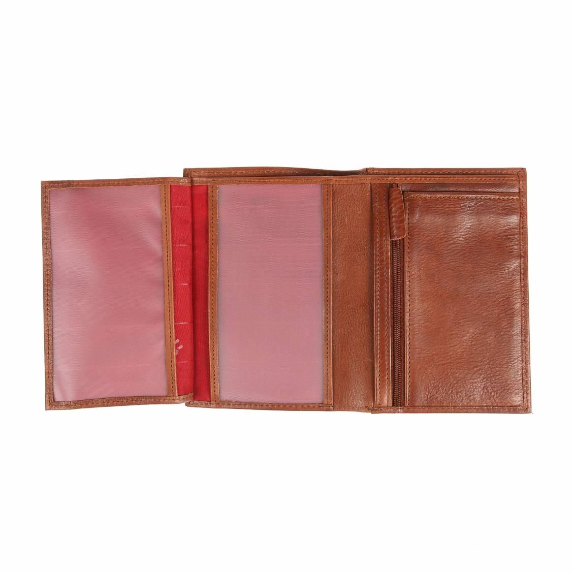 Petit portefeuille européen Serge Blanco à 3 volets en cuir grainé cognac chxVZd1xPw