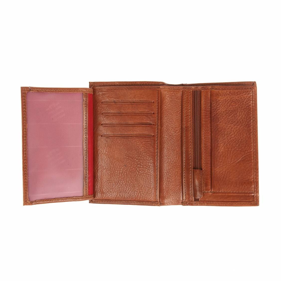 Portefeuille européen à 3 volets Serge Blanco en cuir grainé Chocolat QxJYuY