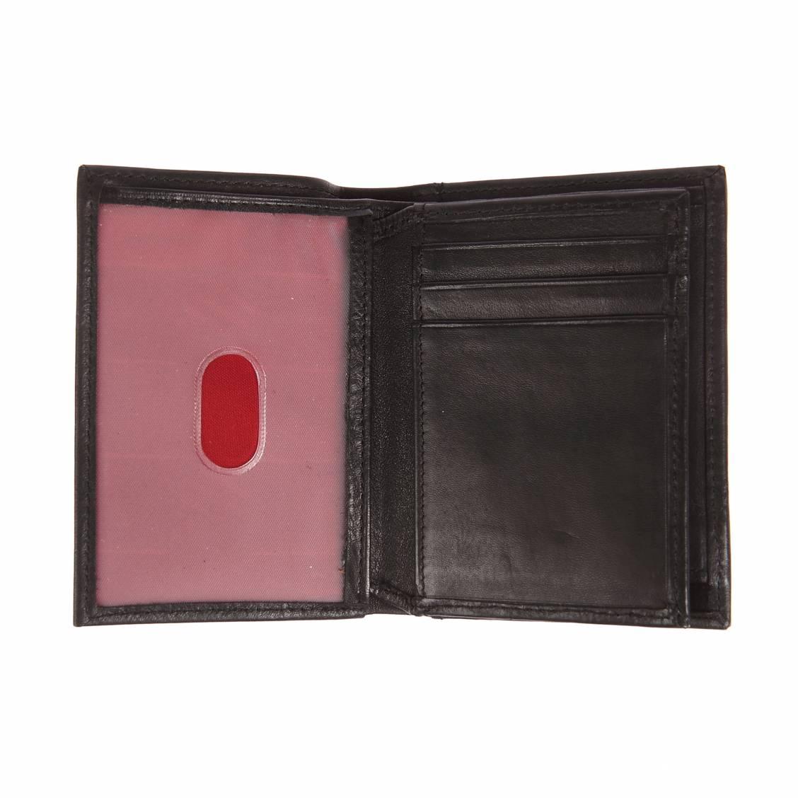 Petit portefeuille européen Serge Blanco à 3 volets en cuir grainé noir K6N2jydoI