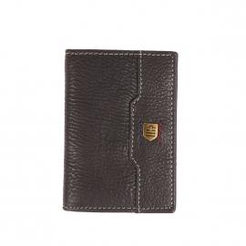 Porte-cartes à 2 volets Serge Blanco en cuir texturé noir à surpiqûres grises