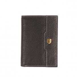 Porte-cartes Serge Blanco 2 volets en cuir texturé noir à surpiqûres grises, porte-monnaie intégré