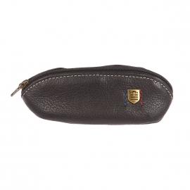 Porte-monnaie ovale Serge Blanco en cuir texturé noir à surpiqûres grises