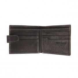 Porte-monnaie et cartes Serge Blanco en cuir texturé noir à surpiqûres grises