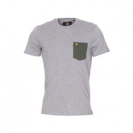 Tee-shirt col rond Lyle & Scott en coton gris chiné à poche poitrine vert chiné