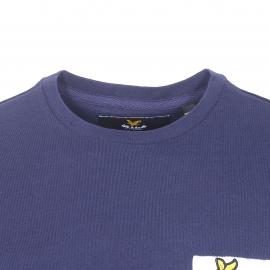 Tee-shirt col rond Lyle & Scott en coton bleu marine, poche poitrine blanche à motifs