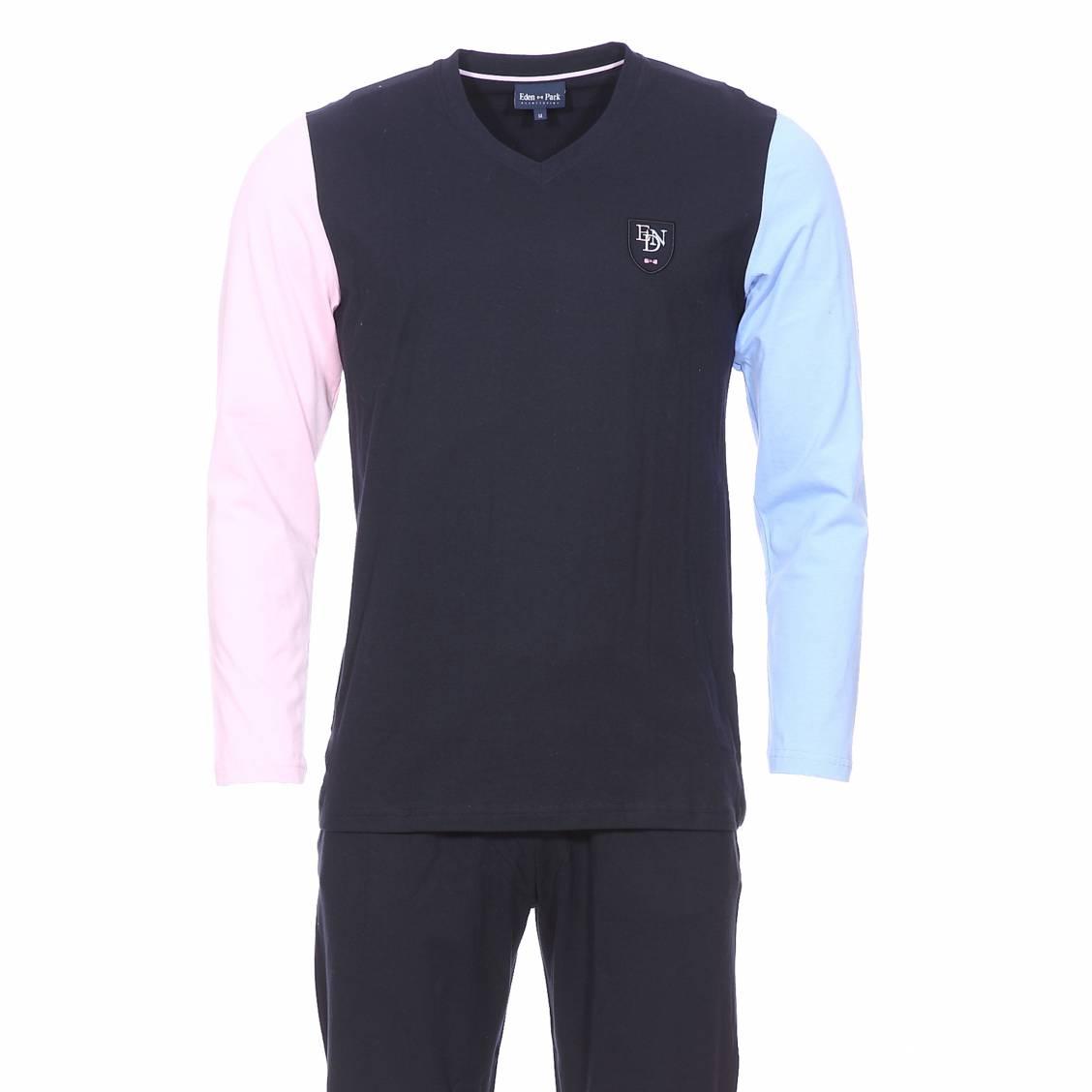 Pyjama long  en coton : tee-shirt bleu marine à manches longues bleu ciel et rose pâle et pantalon uni bleu marine