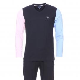 Pyjama long Eden Park en coton : Tee-shirt bleu marine à manches longues bleu ciel et rose pâle et pantalon uni bleu marine