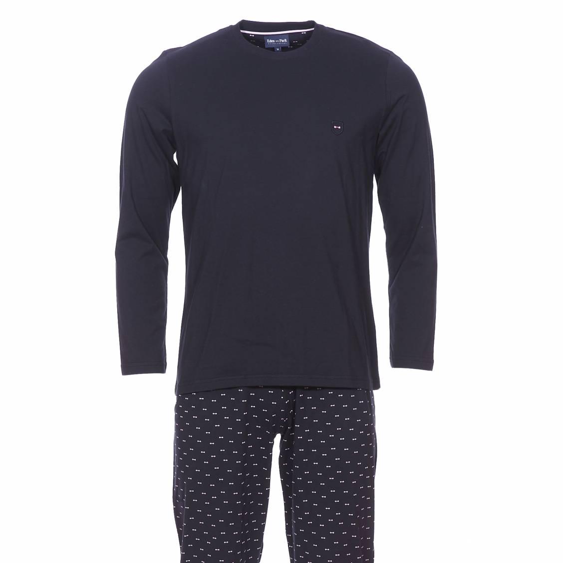 Pyjama long  en coton : tee-shirt manches longues bleu marine et pantalon bleu marine à petits n?uds rose pâle