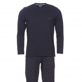 Pyjama long Eden Park en coton : Tee-shirt manches longues bleu marine et pantalon bleu marine à petits nœuds rose pâle