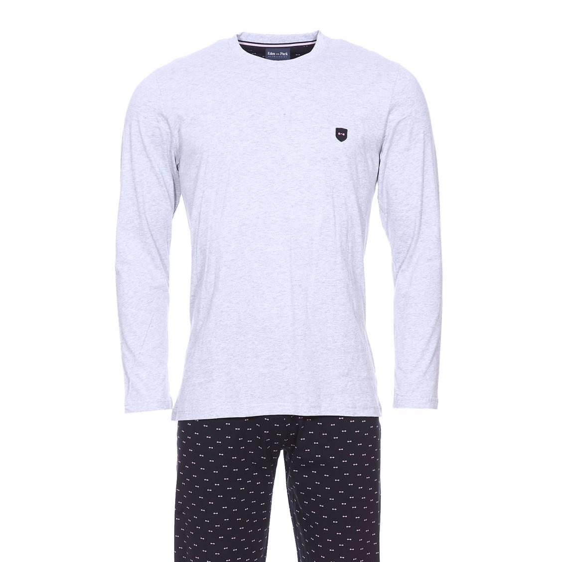 Pyjama long  en coton : tee-shirt manches longues gris chiné et pantalon bleu marine à petits n?uds rose pâle