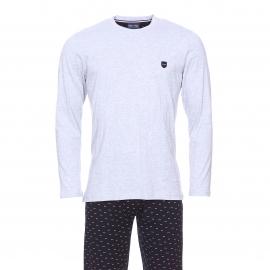 Pyjama long Eden Park en coton : Tee-shirt manches longues gris chiné et pantalon bleu marine à petits nœuds rose pâle