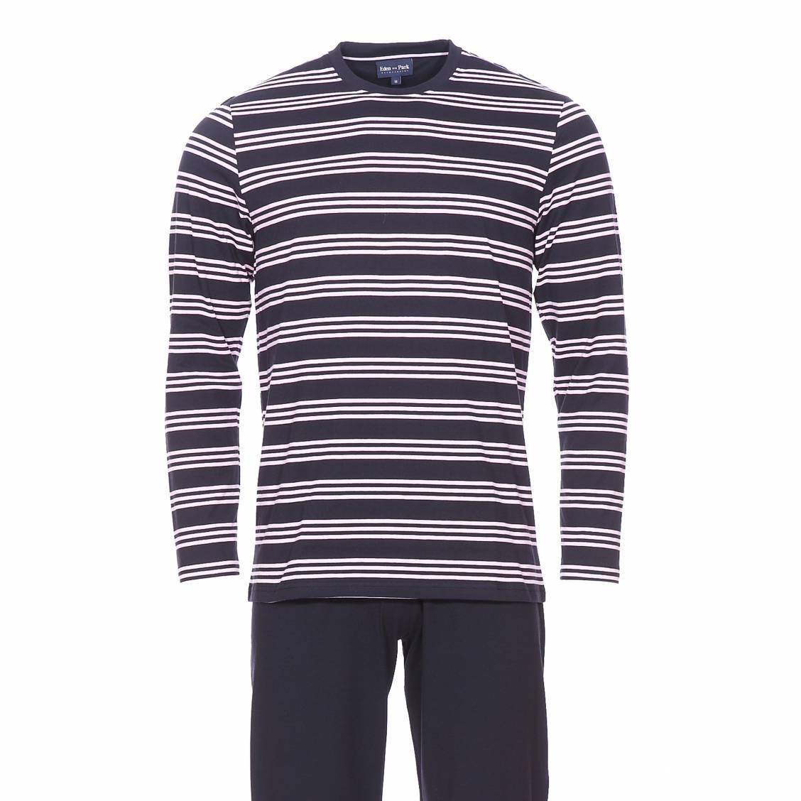 Pyjama long  en coton : tee-shirt manches longues bleu marine à rayures rose pâle et pantalon uni bleu marine