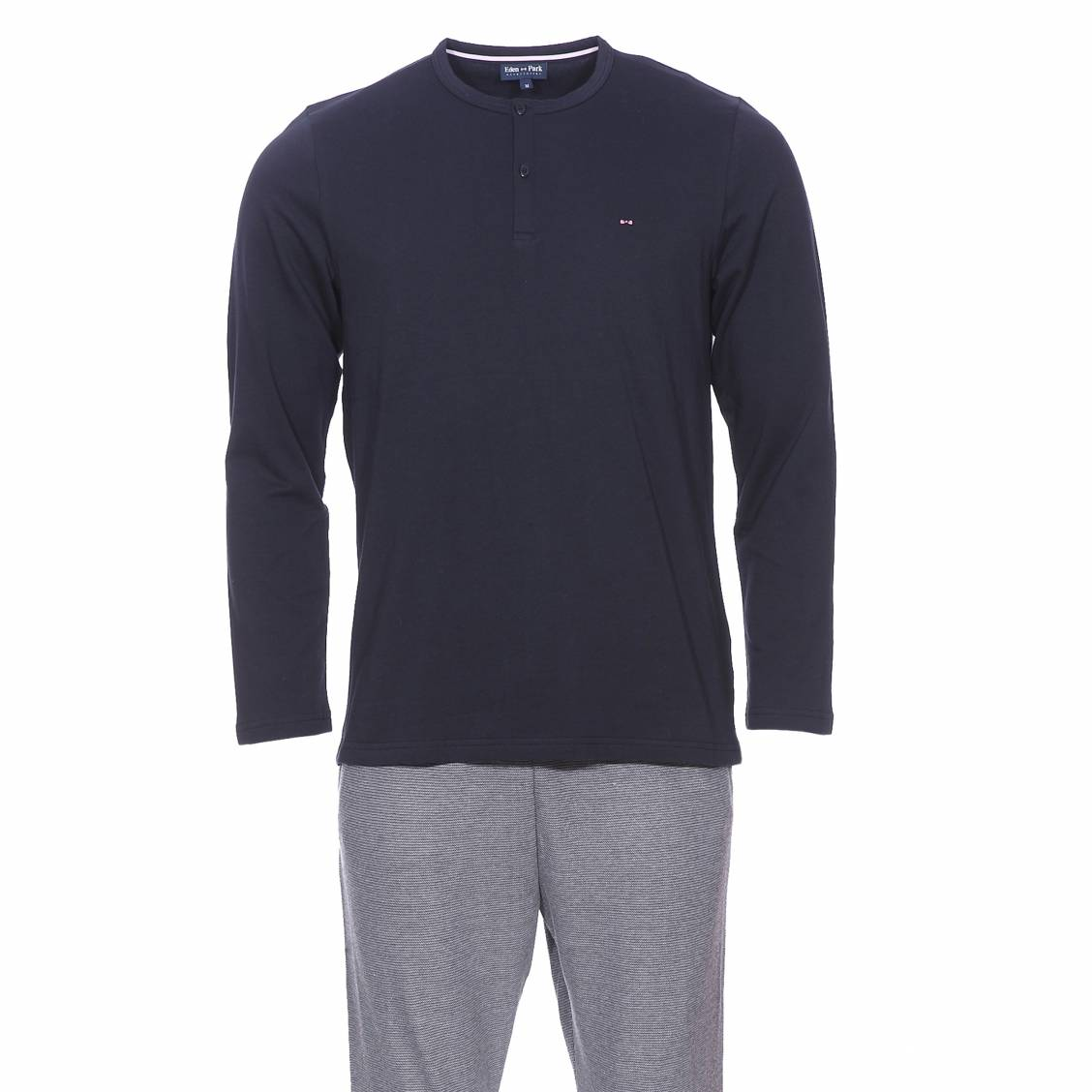 Pyjama long  en coton : tee-shirt col tunisien bleu marine et pantalon en mailles oxford