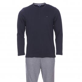 Pyjama long Eden Park en coton : Tee-shirt col tunisien bleu marine et pantalon en mailles oxford