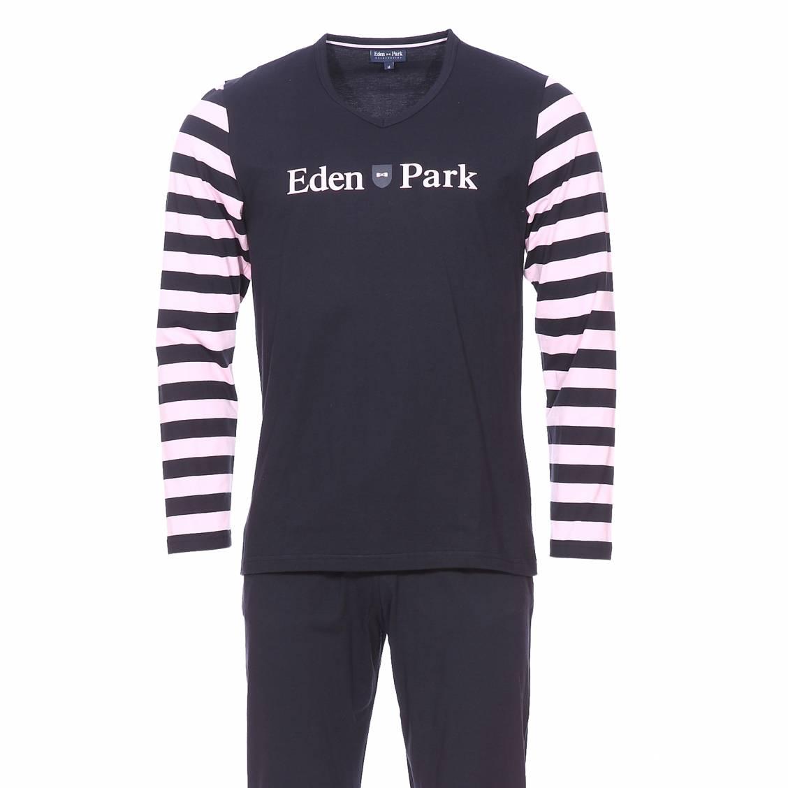 Pyjama long  en coton : tee-shirt col v bleu marine, manches longues à rayures rose pâle et pantalon uni bleu marine
