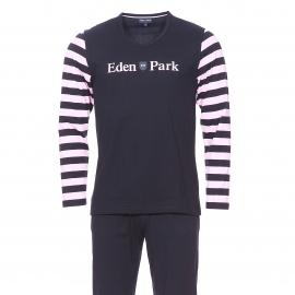 Pyjama long Eden Park en coton : Tee-shirt col V bleu marine, manches longues à rayures rose pâle et pantalon uni bleu marine