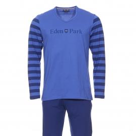 Pyjama long Eden Park en coton : Tee-shirt col V bleu indigo manches longues à rayures bleu foncé et pantalon uni bleu foncé