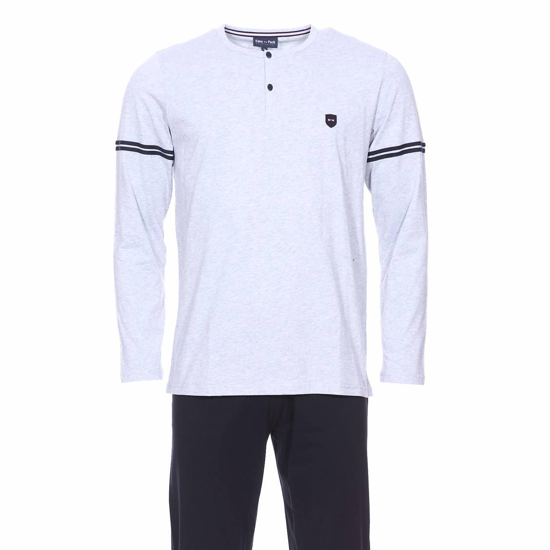 Pyjama long  en coton : tee-shirt col tunisien gris chiné et pantalon bleu marine