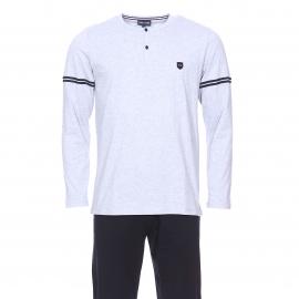 Pyjama long Eden Park en coton : Tee-shirt col tunisien gris chiné et pantalon bleu marine