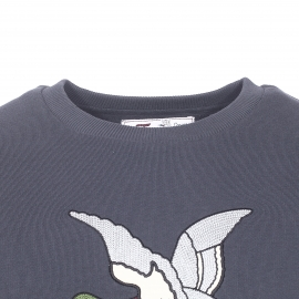 Sweat Chevignon en molleton de coton gris anthracite floqué