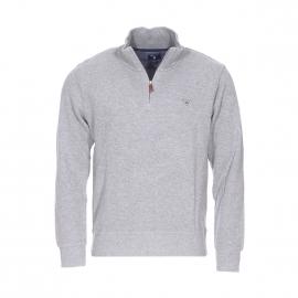 Pull col zippé Sacker Gant en coton gris chiné