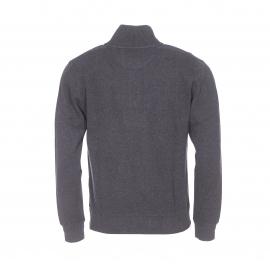 Pull col zippé Sacker Gant en coton gris anthracite