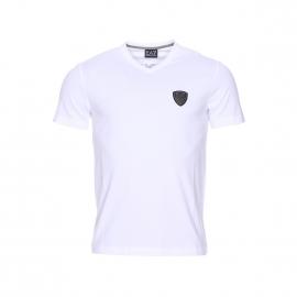 Tee-shirt col V EA7 en coton stretch blanc floqué dans le dos