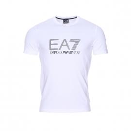 Tee-shirt col rond EA7 en coton stretch blanc floqué en argent et noir