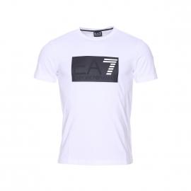 Tee-shirt col rond EA7 en coton stretch blanc floqué en noir et blanc