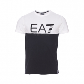 Tee-shirt col rond EA7 à maille piquée bicolore