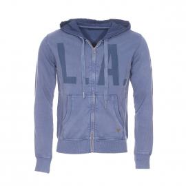 Sweat zippé à capuche Guess en coton bleu-gris et imprimé L.A.
