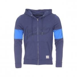 Sweat zippé à capuche Guess en coton bleu marine