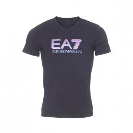 Tee-shirt col V EA7 en coton stretch noir floqué en bleu électrique, rouge et kaki