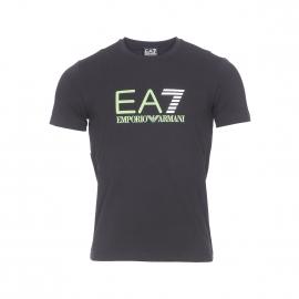 Tee-shirt col rond EA7 en coton stretch noir floqué en relief