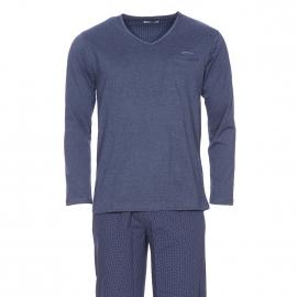 Pyjama long Mariner : tee-shirt manches longues col V en jersey de coton bleu chiné et pantalon en popeline bleu marine à pois blancs