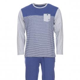 Pyjama long Mariner en jersey de coton : tee-shirt manches longues col rond bleu chiné à rayures grises et pantalon bleu chiné