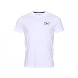 Tee-shirt col rond EA7 en coton blanc floqué en noir et doré