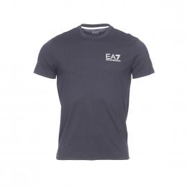 Tee-shirt col rond EA7 en coton noir floqué en blanc et doré