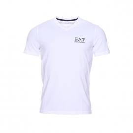 Tee-shirt col V EA7 en coton stretch blanc floqué en noir et doré