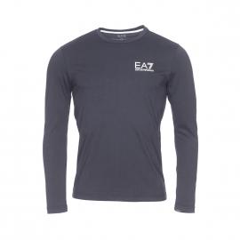 Tee-shirt manches longues col rond EA7 en coton coton floqué en blanc et doré