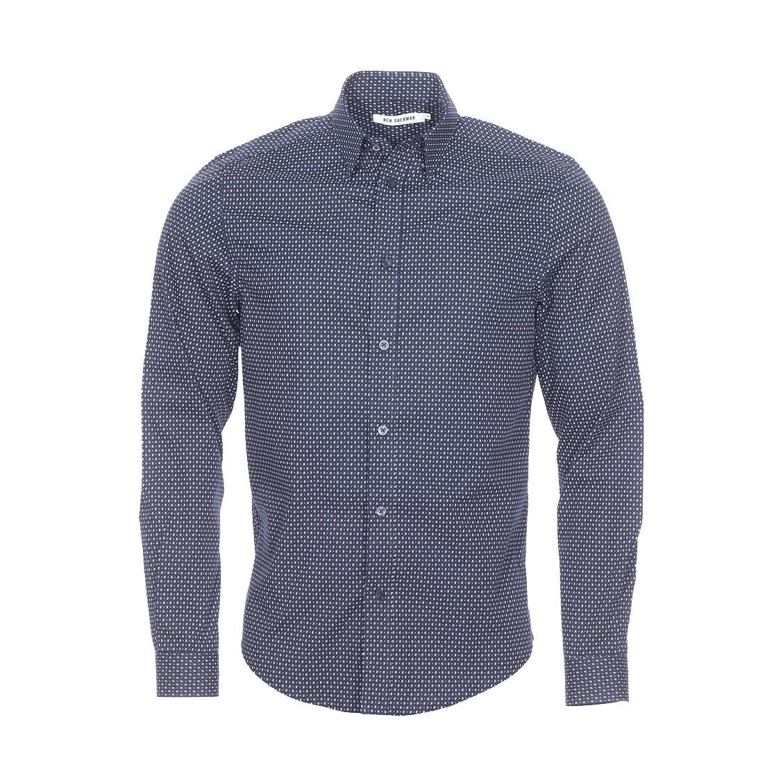 Chemise droite  en coton bleu marine à petits motifs \