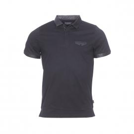 Polo Izac en coton mercerisé noir à empiècement en simili-cuir