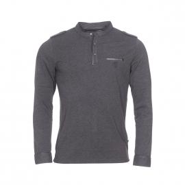 Tee-shirt manches longues col tunisien Izac en coton gris anthracite
