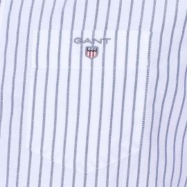 Chemise droite Gant en coton oxford blanche à rayures bleues