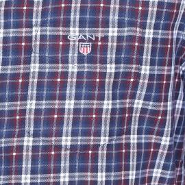 Chemise droite Gant en coton à carreaux écossais bleu indigo, bordeaux et blancs