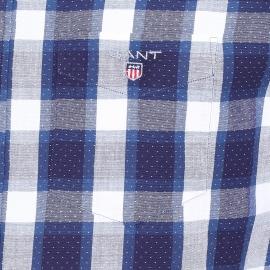 Chemise droite Gant en coton à carreaux bleus, blancs et petits points blancs