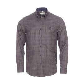 Chemise droite Gentleman Farmer en coton kaki à carreaux bleu marine